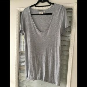 Softest Adriano Goldschmied Deep V Tee in Gray Sm